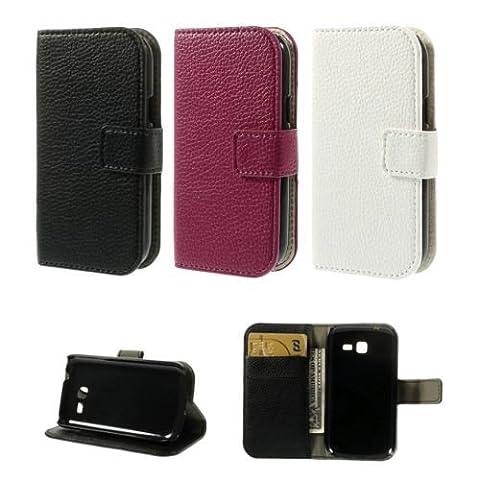 jbTec® Flip Case Handy-Hülle zu Samsung Galaxy Trend Lite / GT-S7390 - BOOK EINFARBIG - Handy-Tasche, Schutz-Hülle, Cover, Handyhülle, Ständer, Bookstyle, Booklet, Farbe:Deep Pink