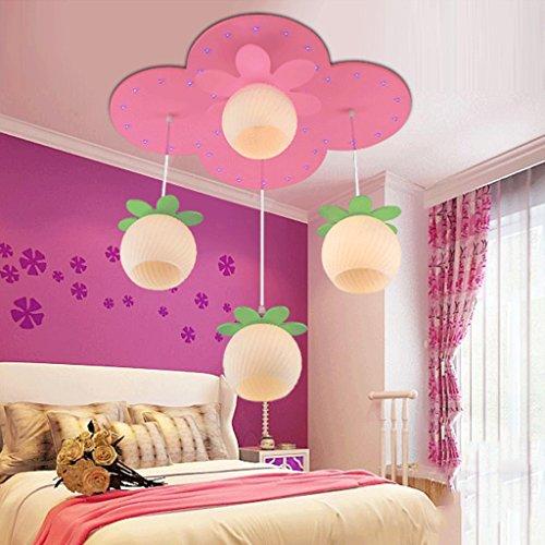 Lustre Rose LED oeil lustre princesse fille chambre chambre créatif dessin animé mignon lampes pour enfants Éclairage décoratifA+