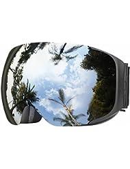 Gafas de Esquí, eDriveTech Anti Niebla OTG Gafas de Esquiar para Mujer Hombre Juventud Chicos Chicas Protección UV Actualización Magnéticos Intercambiables Doble Capa Esférica Lentes Máscara Snowboard (Negro Marco/Plata Lente)