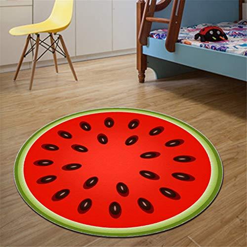 Xmansky Wassermelone Teppich,Sommer Obst Serie Druck runde kristall samt küche Anti-Slip Matte kinderzimmer Teppich Küchenmatte Durchmesser 60/80/100 cm -