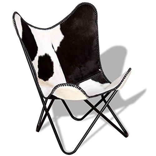 Festnight Vintage-Stil Butterfly-Sessel Echtleder-Polsterung Loungesessel Klappstuhl Ergonomisch Sessel Relaxsessel 74 x 66 x 90 cm Schwarz und Weiß (Voll-leder-cocktail)