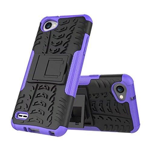 YHUISEN LG Q6 Case, Hyun Pattern Dual Layer Hybrid Armor Kickstand 2 in 1 Shockproof Gehäuse Cover Fo LG Q6 / LG Q6 Plus / LG Q6 Alpha ( Color : Red ) Purple