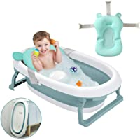 Arkmiido Foldable Bath Tub with Bath Support Net for Babies (Blue) -Set of 2 Pieces