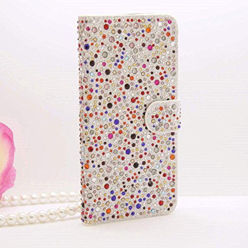 iPhone 6Plus/6S Plus Schutzhülle, by jabit Regentropfen Diamant Fällen-Kristall Bling Strass Wallet PU Leder Schutzhülle Hard Case Cover SCHUTZHÜLLE 5Farben, Bunt