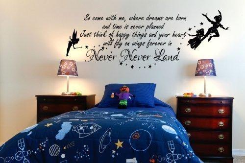 Peter pan so come with me tinkerbell bambini decalcomania della parete del vinile mural kids bedcamera 100x55 (black)