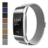 Fitbit Charge 2 Accessory Band, Milanese Loop Stainless Steel Bracelet Strap Replacement Wristband with Unique Magnet Lock for Sport Fitness Tracker Fitbit Charge 2 Heart Rate, Silver (Size L)