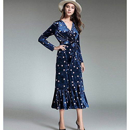 kekafu Women's Casual/Täglich Einfache Mantel Kleid, Polka Dot V-Ausschnitt Maxi Langarm Polyester Winter fallen, Mittelhohes Micro-elastischen Opak, M, Blau (Womens Polka Dot Mantel)