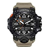 Herren Digitale Armbanduhr, Military Sport Analog-Digital Chronograph Uhren für Männer, Big, 56 mm Wasserdicht LED Harz Gurt Khaki Armbanduhr