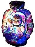 Goodstoworld Herren Damen 3D Galaxy Katze Sweatshirt Kapuzenpullover Neuheit Druck Hoodie Pullover Langarm Kapuze Sweatjacke Tops