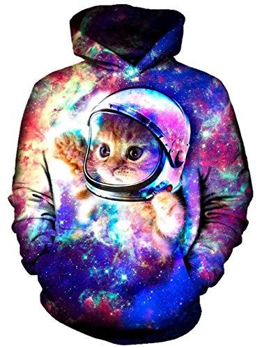 Goodstoworld Kapuzenpulli 3D Galaxy Katze Pullover Hoodie Herren Damen Slim Fit Rainbow Grafik Kapuzenpulli Sweatshirt Kapuze Fleece Top