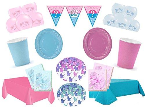 Partydekoset Babyparty Baby Shower Mädchen Junge rosa blau für 12 Personen 81 teilig Pullerparty Baby Geburt Babyparty Komplettset Tischdeko Party Geschirr