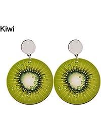 Pendientes de tuerca para mujer, estilo coreano, con diseño de fruta, para mujer, para tomate, limón, kiwi,…