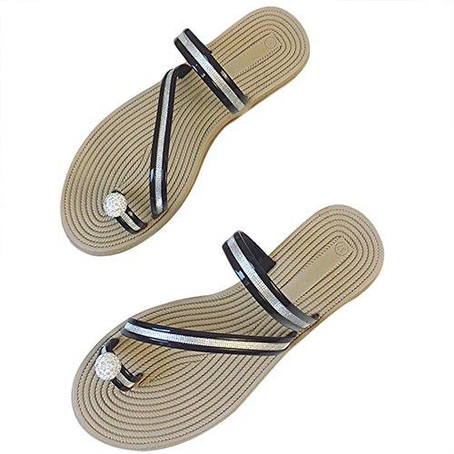 Longra Donna Un insieme di all-match studenti a punta dei sandali moda sandali spiaggia di svago Nero