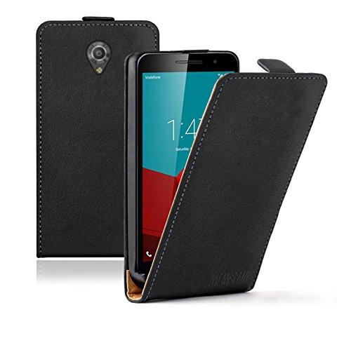 Membrane Vodafone Smart Prime 7 Lederhülle Schwarz Ultraslim Klapphülle Hülle Magnet Case Flip Cover Schutzhülle