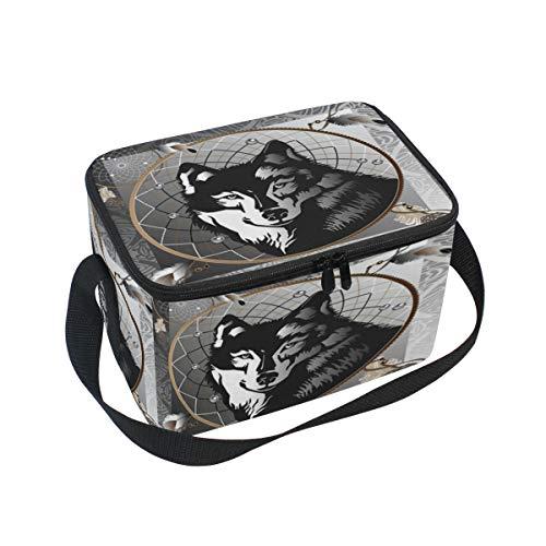 Hunihuni Animal Wolf atrapasueños portátil aislado bolsa de almuerzo bolsa enfriadora bolsa de almuerzo organizador para la escuela oficina al aire libre picnic