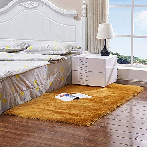 Go-Ahead,Bequemer Weicher Rechteckiger Teppich Schlafzimmer-Teppich Pelziger Seidiger Plüsch-Teppich Kinderzimmer-Nachttisch @ Yellow_Camel_60X60Cm -