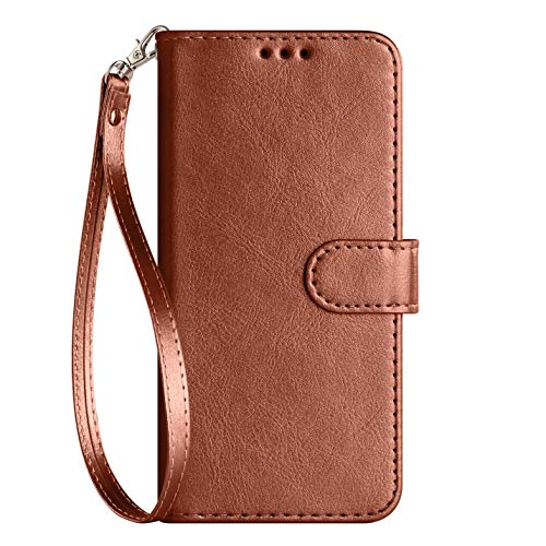 iPod Touch Case 7th Generation 2019 5./6th for iPod 5/6/7 with Screen Protector Leather Bling Glitter Wallet Flip Stand Card Holder Slot for Men Boys Girls/Women, Brown(Pure) Kabel-screen Protector Usb