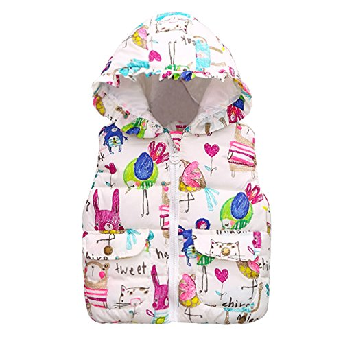 Reefa Baby Girls Winter Thick Warm Vest Waistcoat,Princess Animal Graffiti Print Hooded Coats Jacket,Autumn Winter Gilets