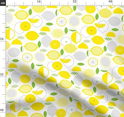 Limonade, Zitronen, Sommer, Zucker, Blatt, Streifen, Limette Stoffe - Individuell Bedruckt von Spoonflower - Design von Katerhees Gedruckt auf Synthetik Jersey -