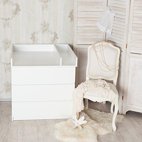 """Puckdaddy Wickelaufsatz\""""Basic\"""" + Trennfach für IKEA Malm Kommode, weiß, 80cm Breite"""