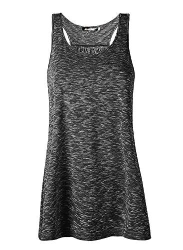 r Sports Shirts Oberteile Frauen Baumwolle Lose Ärmellos for Yoga Jogging Laufen Workout-bk-XL ()