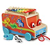 Grandi regali educativi per i bambini di imparare più musica e ritmi. Bella colorato tirare bus è grande per i bambini di imparare gli animali e colori. Se si tira il camion, il camion di occhio carino si muoverà. Il del gomma della ruota, co...