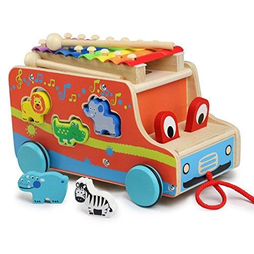 Bus Abziehen und Holz Tiere mit Xylophone Pädagogische Spielzeug Nachziehspielzeug für Kinder