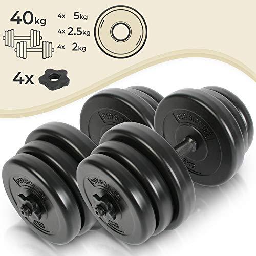 Physionics Kurzhantel-Set 2er | 40kg (2x20) mit Eisen Hantelstangen, Kunststoff Hantelscheiben und Sternverschlüssen | Größenauswahl | Gewichte, Hantel-Set