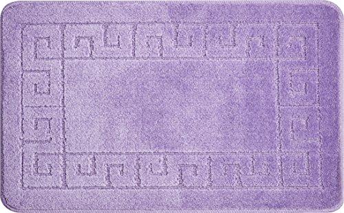 Linea Due Badematten Set 2tlg 100% Polypropylene, Badteppich rutschfest, soft und saugfähig Badematte, waschbare Badematte, LABYRINTH, Set 2-teilig m.A. 50x80 + 50x40 cm, lila