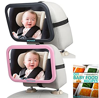 Baby Car Mirror by Kid Transit to Watch Your Child in the Rear View Mirror - Colour Various | Best Selling UK Brand | Complimentory Baby Recipes Ebook