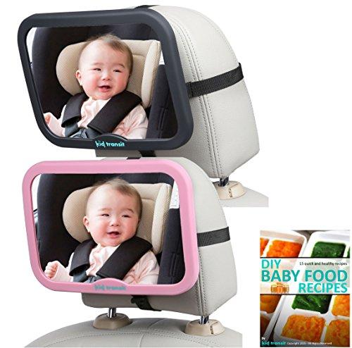 Baby-Autospiegel von Kid Transit - groß, glasklar und sicher. Universeller, wackelfreier Rücksitzspiegel,...