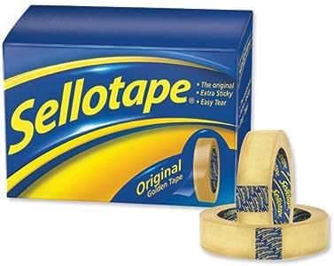 Sellotape 1443252 Original Golden Tape Klebeband nicht-statisch leicht abrei/ßbar gro/ß 18 mm x 66 m 16 Rollen