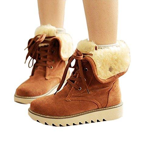 Minetom Donna Lace Up Pelliccia Classico Autunno Inverno Neve Stivali Snow Boots Stivali Cavaliere Marrone