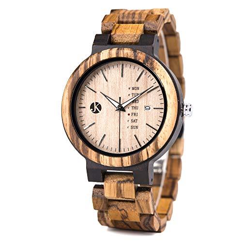 Kim Johanson Herren Holz-Edelstahl Armbanduhr *Light Week* mit Datum- & Tagesanzeige Handgefertigt Quarz Analog Uhr inkl. Geschenkbox