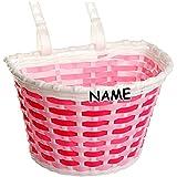Unbekannt Fahrradkorb / Korb -  pink / rosa weiß  - inkl. Name - mit Befestigung für Lenker vorne - Fahrrad Kinder - Mädchen Jungen - Bastkorb - universal auch für Ro..