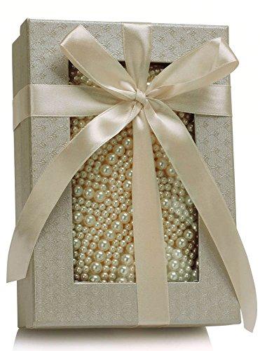 LeahWard® Klein Damen Mode Essener Berühmtheit Qualität Kunstleder Stil Beaded Pearl Rhinesteins Unterarmtasche Abendtaschen CWE00209 CWE00317 Champagne