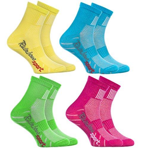 Rainbow Socks - Jungen Mädchen Sneaker Bunte Baumwolle Sport Socken - 4 Paar - Gelb Türkis Grün Rosa - Größen EU 24-29