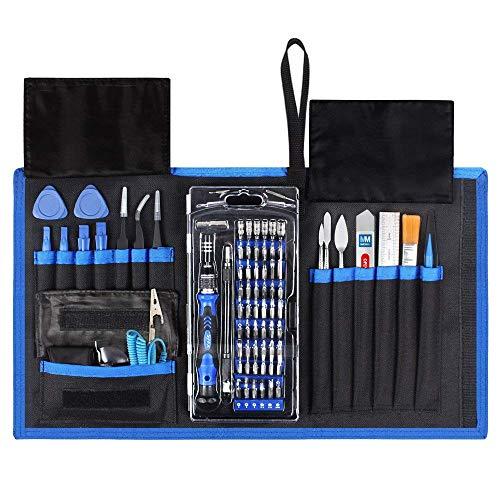 MMOBIEL Magnetisch Schraubendreher Reparatur Werkzeug 80 in 1 mit 56 Bits Flexibler Schaft für technische Geräte in Tasche -