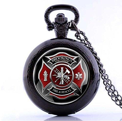 (Antik Fire Fighter Kontrolle Thema Quarz Taschenuhr Herren Damen Halskette Retro-Geschenk Anhänger)