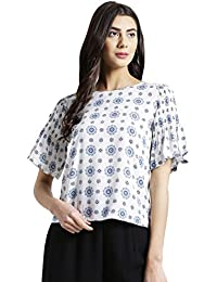 Zink London White Printed with Sleeve Detail Top for Women