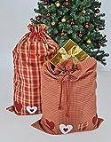 2 Geschenkbeutel kariert 2er Set! mit Zugkordel rot Weihnachtssack Geschenkesack