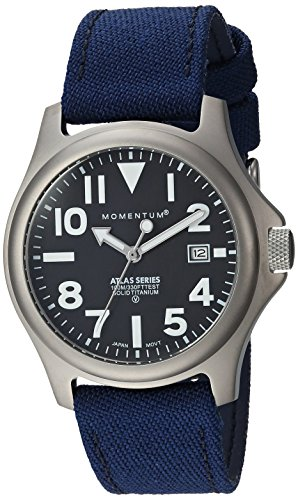 Momentum Men's Quartz Titanium and Cloth Casual Watch, Color:Blue (Model: 1M-SP00B6U)
