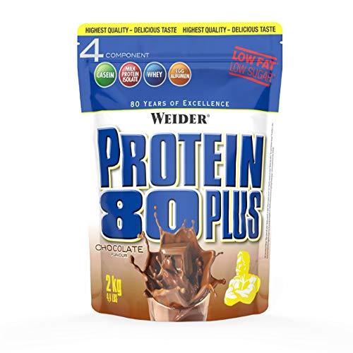 WEIDER Protein 80 Plus Eiweißpulver, Shoko, Low-Carb, Mehrkomponenten Casein Whey Mix für Proteinshakes, 2kg
