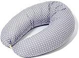Stillkissen Schwangerschaftskissen zum Schlafen Seitenschläferkissen, Bezug 190cm Grau Sterne oder Punkte 100% Baumwolle |Multifunktionales|Made in EU