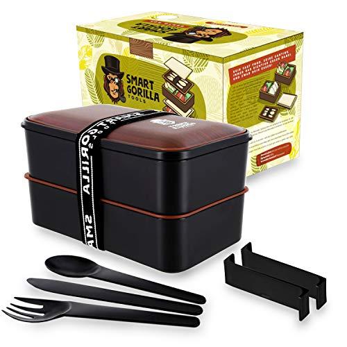 Herren Ersten Gabel (Smart Gorilla Tools - Bento Box - lecker Food to go genießen - auslaufsichere Lunchbox mit 4 flexiblen Fächern und Besteck - Brotdose für Schule und Arbeit - mikrowellengeeignet)