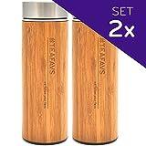Thermobecher Bambus Set - 2x Isolierbecher Trinkbecher Trinkflasche to go mit Edelstahl-Teesieb 500ml BPA-frei