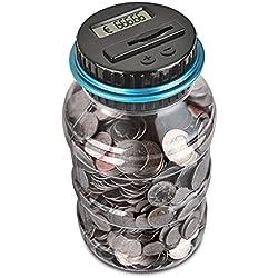 Contador Digital de Hucha por EUR, Automático Moneda Contando Caja de Dinero para Niños y Adultos con Gran capacidad