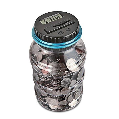 Digitale Piggy Bank EURO Counter, AOZBZ Automatische Münze Zählen Geld Box Sparschwein für Kinder und Erwachsene, Sichere Geld-Bank Münze Sparen Topf-Container mit LCD-Display und Große Kapazität (Kinder Geld Sicher)