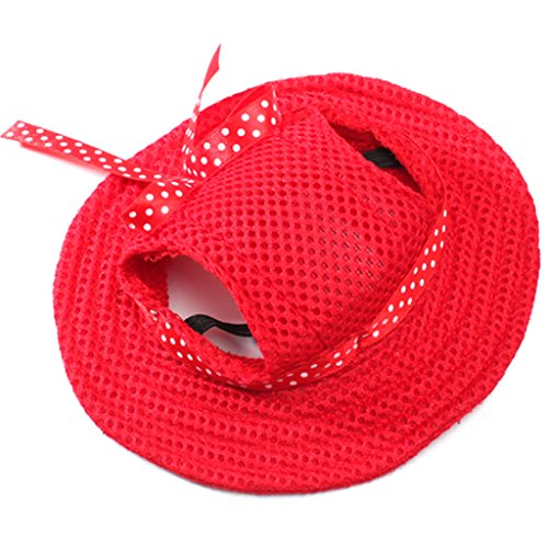 Generic Small Pet Dog Puppy Cat Kitten Princess Mesh Strap Hat Cap Sunbonnet- Red