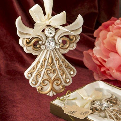 SF Antik Elfenbein Engel Ornament mit Einem Matt Gold filigranen Details
